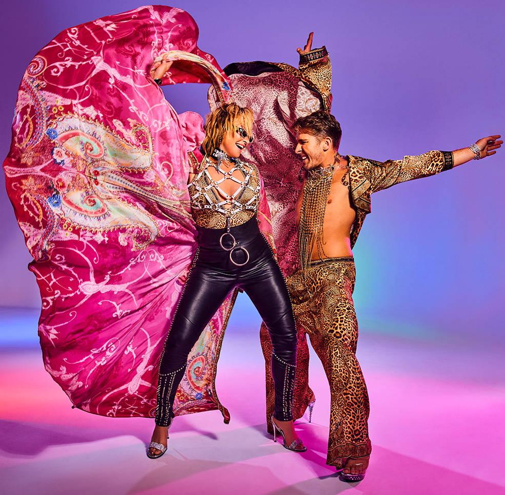 Camilla Franks, Hugh Sheridan in CAMILLA, CAMILLA leather pants, camilla leopard print