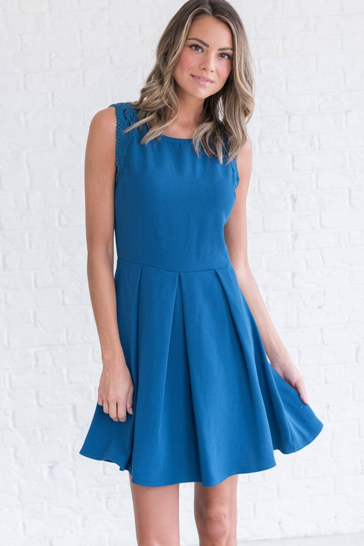 Teal Blue Cute Pleated Mini Dress with Sleeveless Style Boutique Business Casual for Women