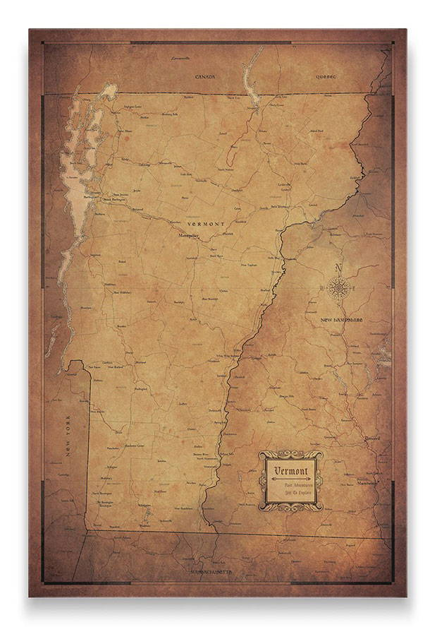 Vermont Push pin travel map golden aged