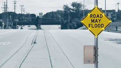 Road may flood sign