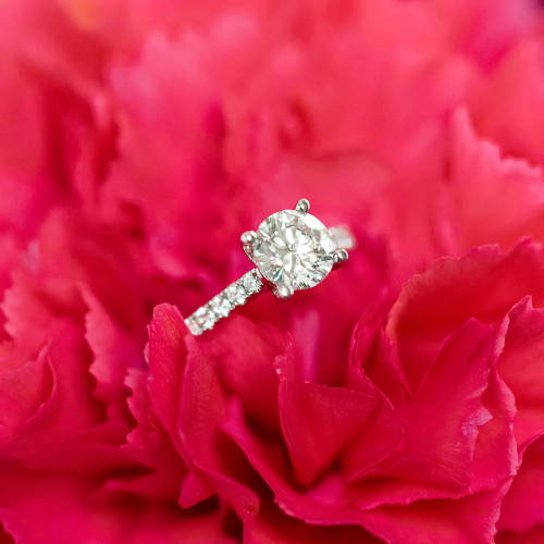 Diamond Engagement Ring in Flower