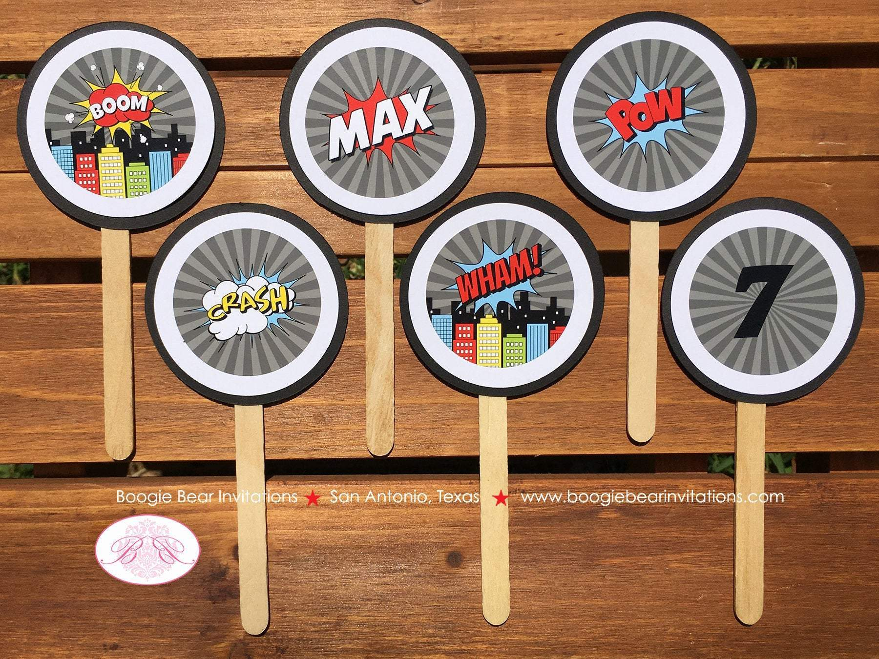Superhero Birthday Max Theme Cupcake Toppers