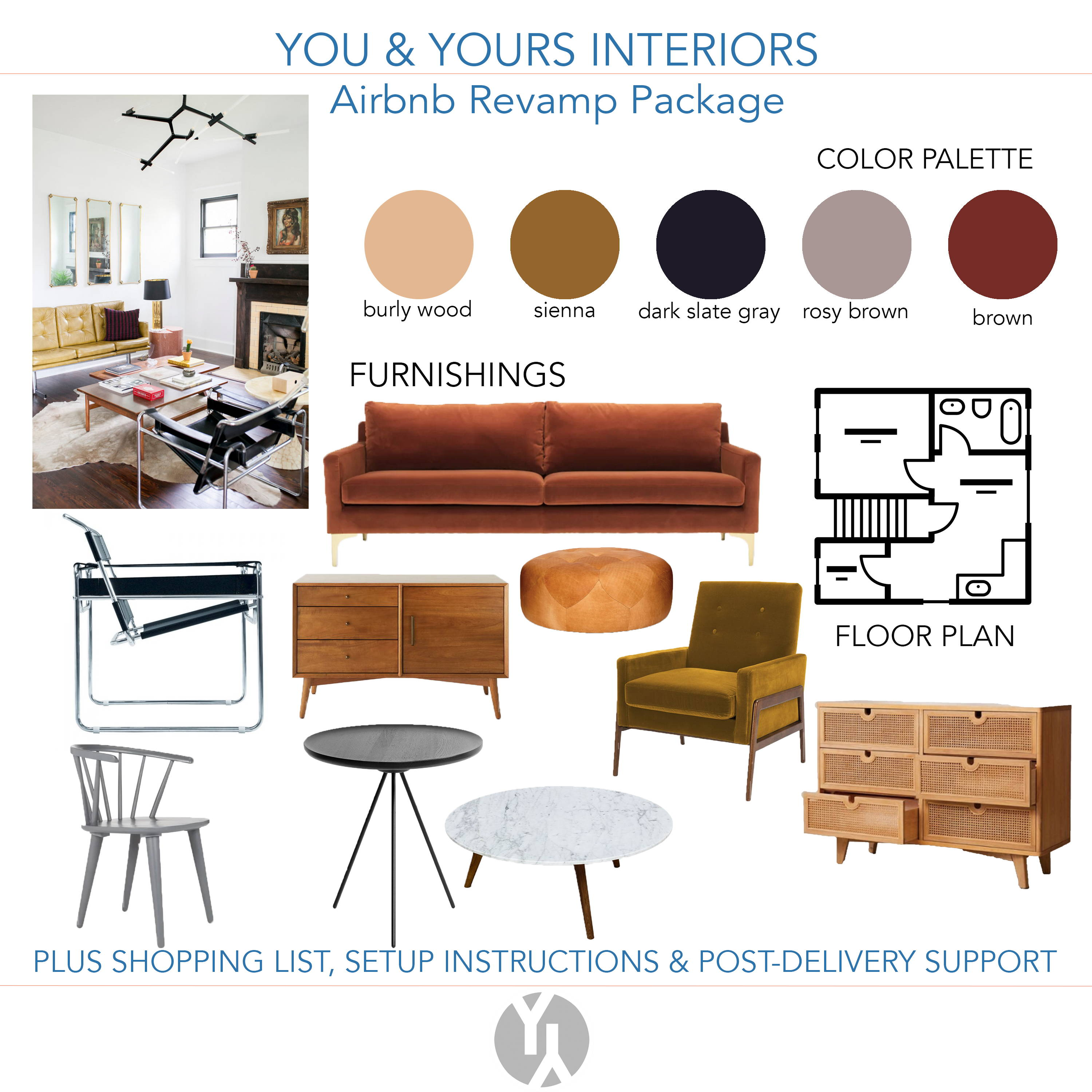 A picture of a pretty color palette in browns and reds, with a rust colored sofa, a wassily chair, mid century modern furniture, and an icon of a floor plan.