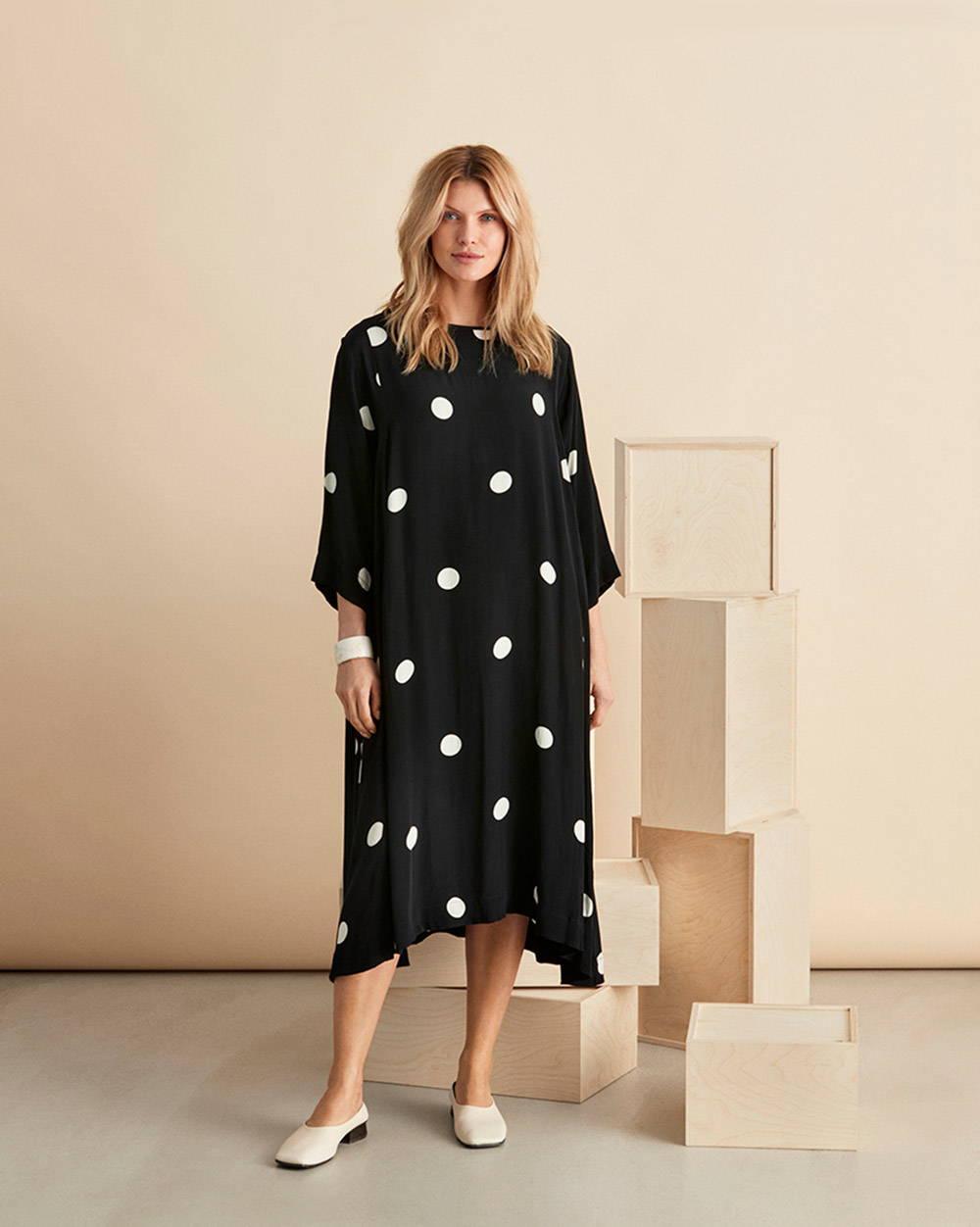 Nabia Dress in Black and White Polka Dot