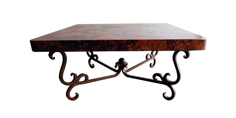 Natural hammered copper square coffee table with an iron base featuring a dark rust brown finish model number 1240 A