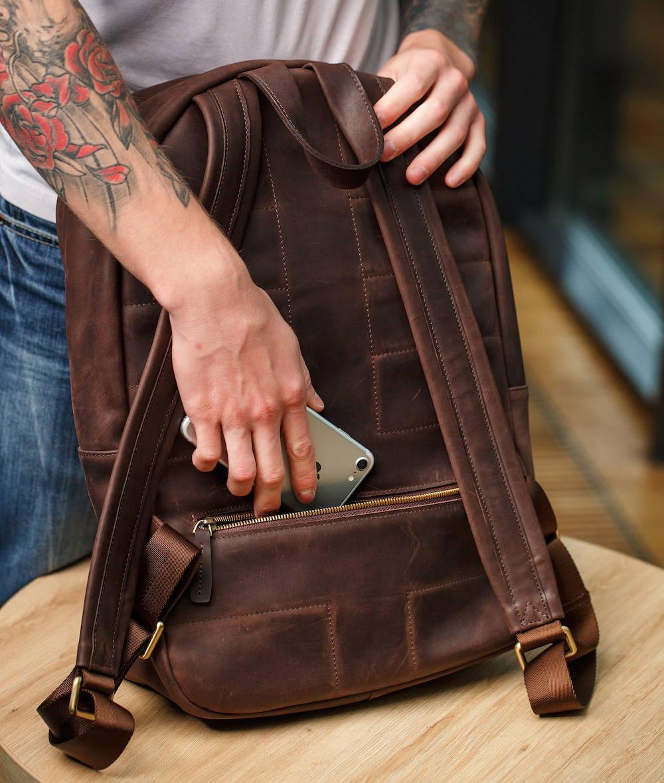 backpack with secret pockets brown