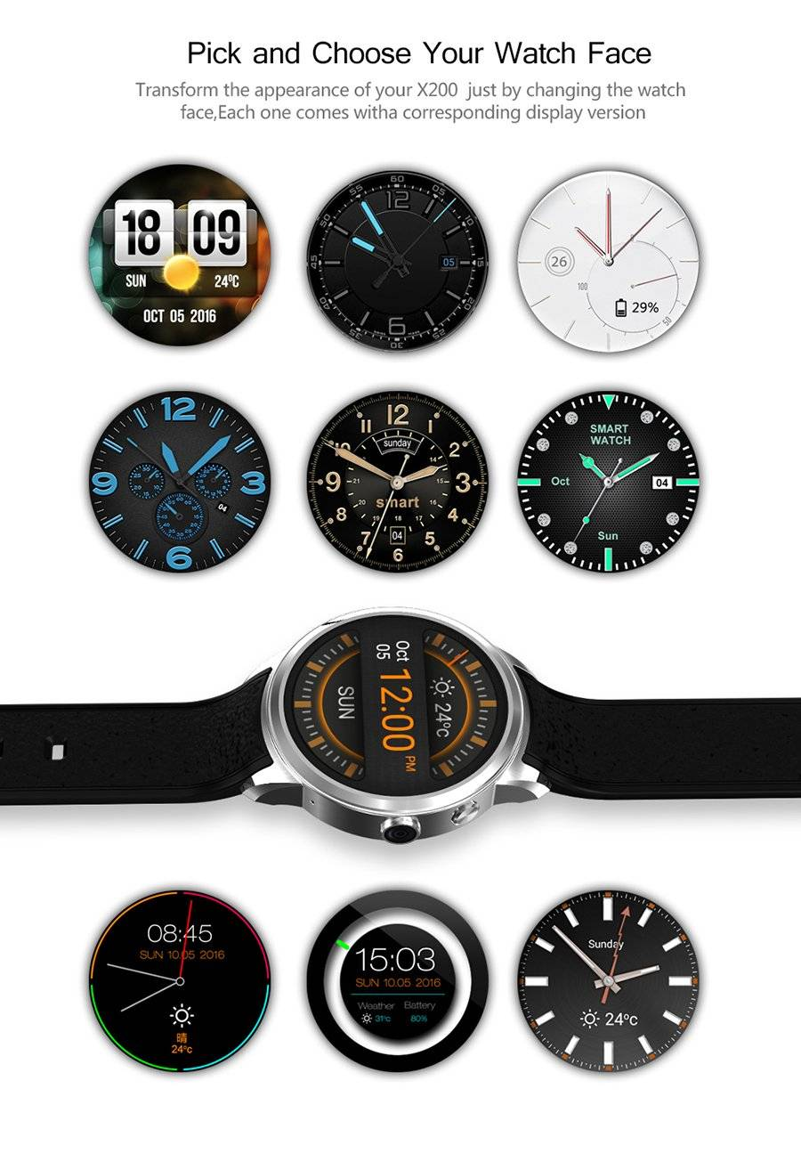 The many faces of the X200 smart watch