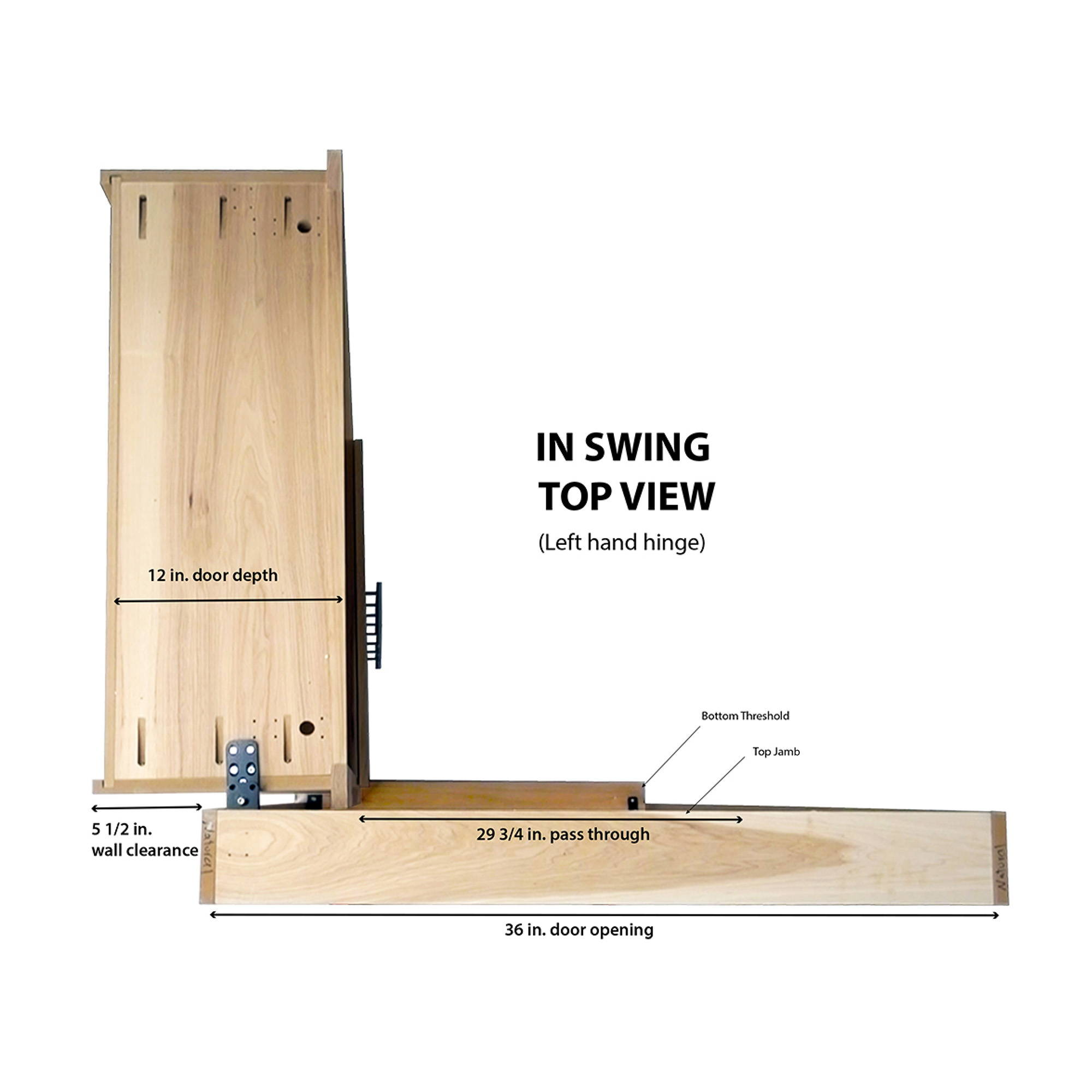 Top view of In-Swing Flush Mount Door