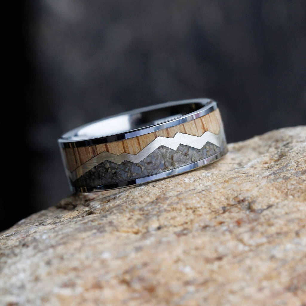 Mountain Ring with Wood and Dinosaur Bone