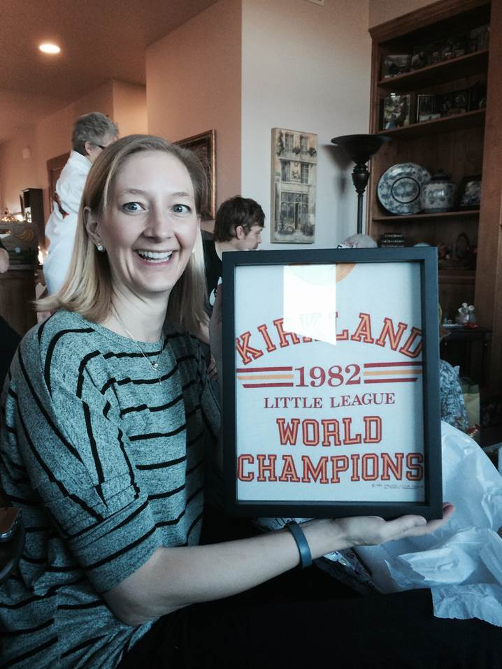 Happy Shart.com customer with framed 1982 Kirkland Little League World Champions tee shirt