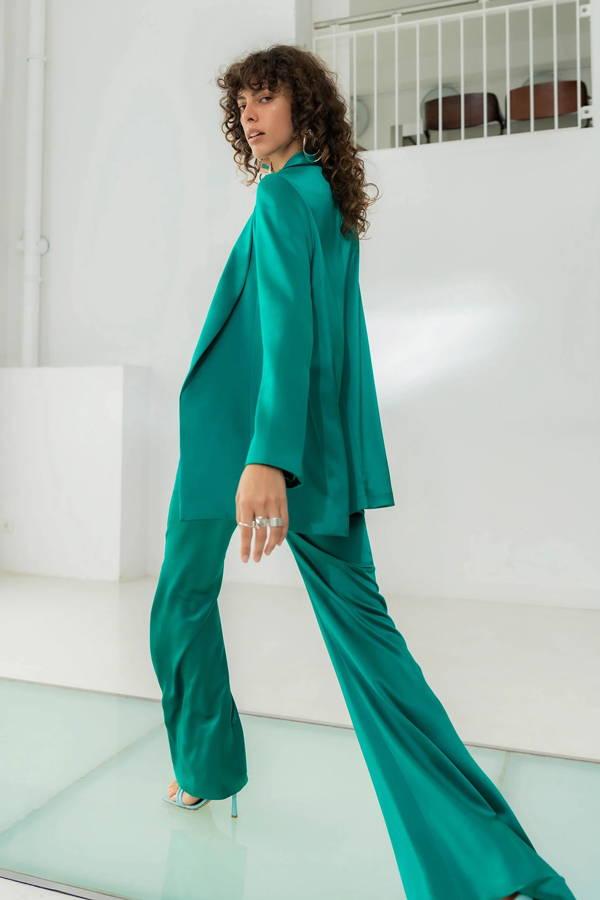 Galvan London Satin Wide Sleeves Green Blazer
