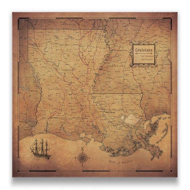 Louisiana Push pin travel map golden aged