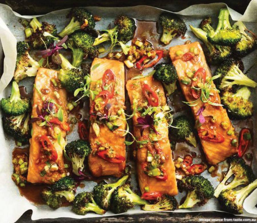 one pan salmon and broccoli bake