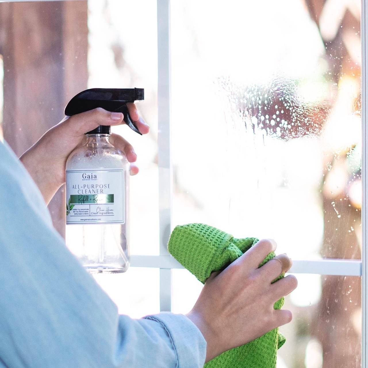 How to clean glass and mirrors  with all-purpose cleaner concentrate from Gaia Natural Home