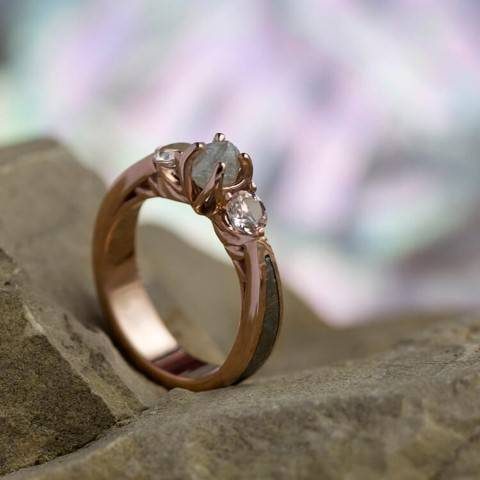 Rough Cut Engagement Ring With Rose Gold
