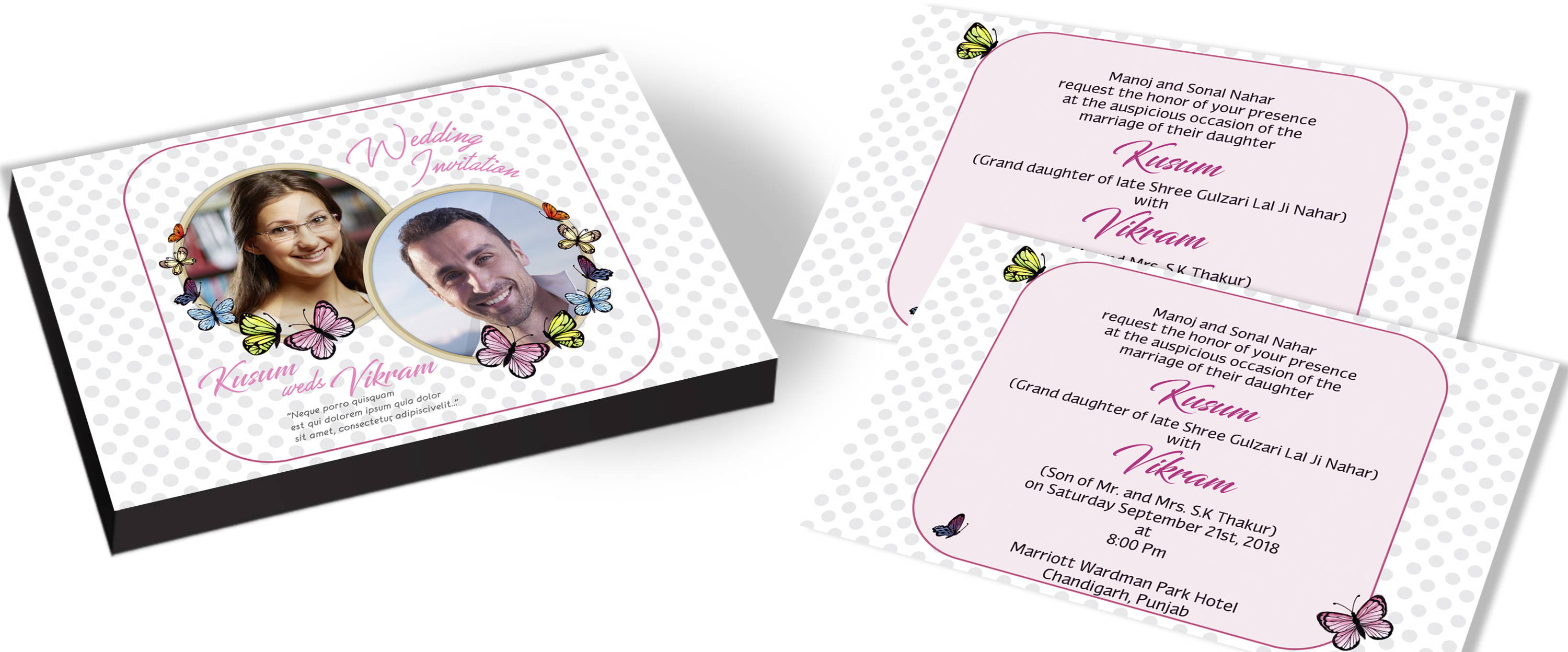 Personalized Butterfly Themed Invitation for Wedding