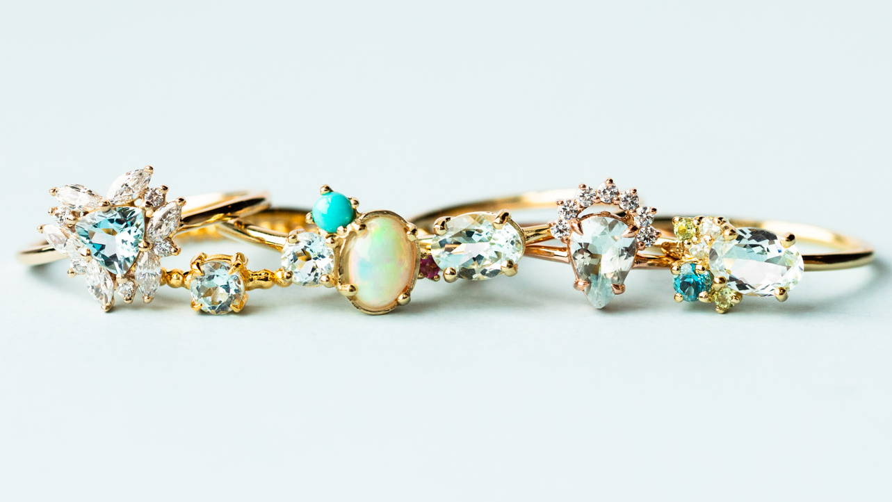 Aquamarine rings from Local Eclectic
