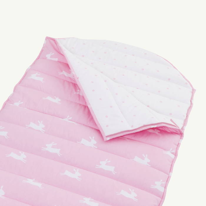 Kids' pink sleeping bag with bunny print