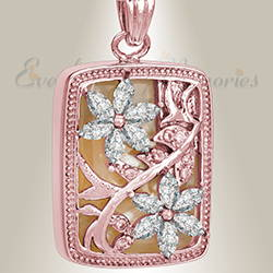 Rose Gold and Clear In Bloom Cremation Jewelry