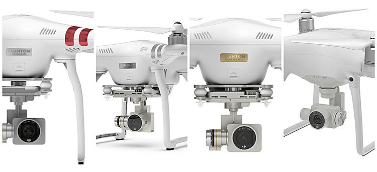Left to Right: Phantom 3 Standard, Phantom 3 Advanced, Phantom 3 Professional, Phantom 4