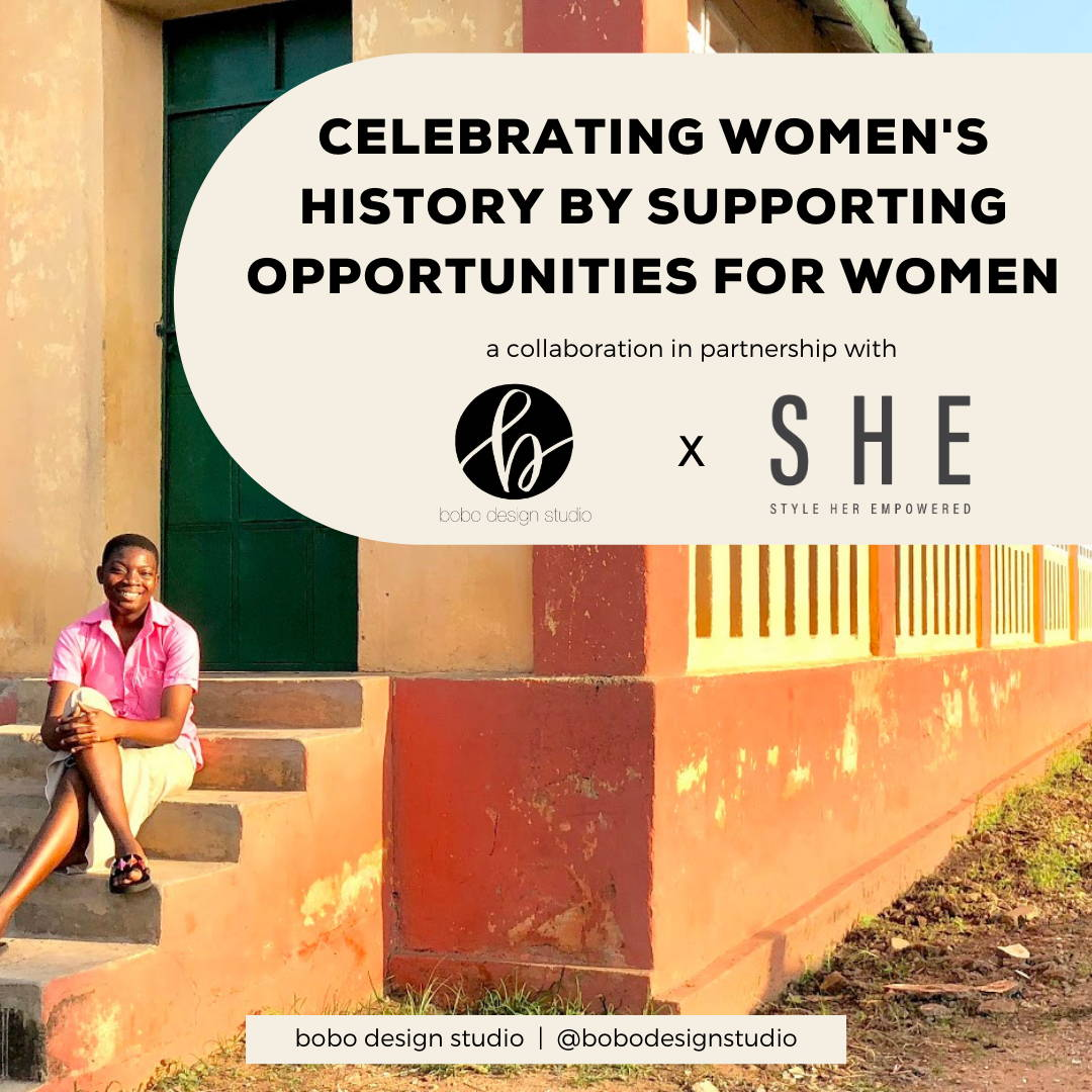Celebrating Women's History Month blog post by bobo design studio featuring one of the young girls from S H E