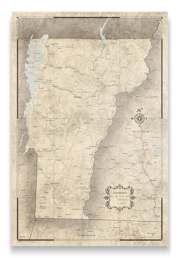 Vermont Push pin travel map rustic vintage