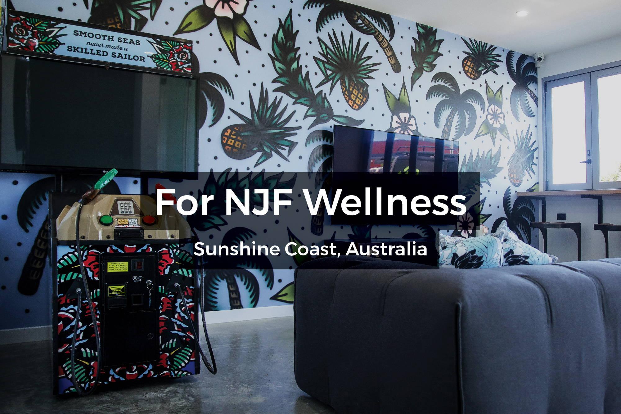 NJF Wellness Centre mural on the Sunshine Coast, Australia by Steen Jones