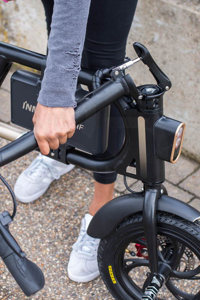 InMotion P1F hybrid scooter ebike handlebar collapsing