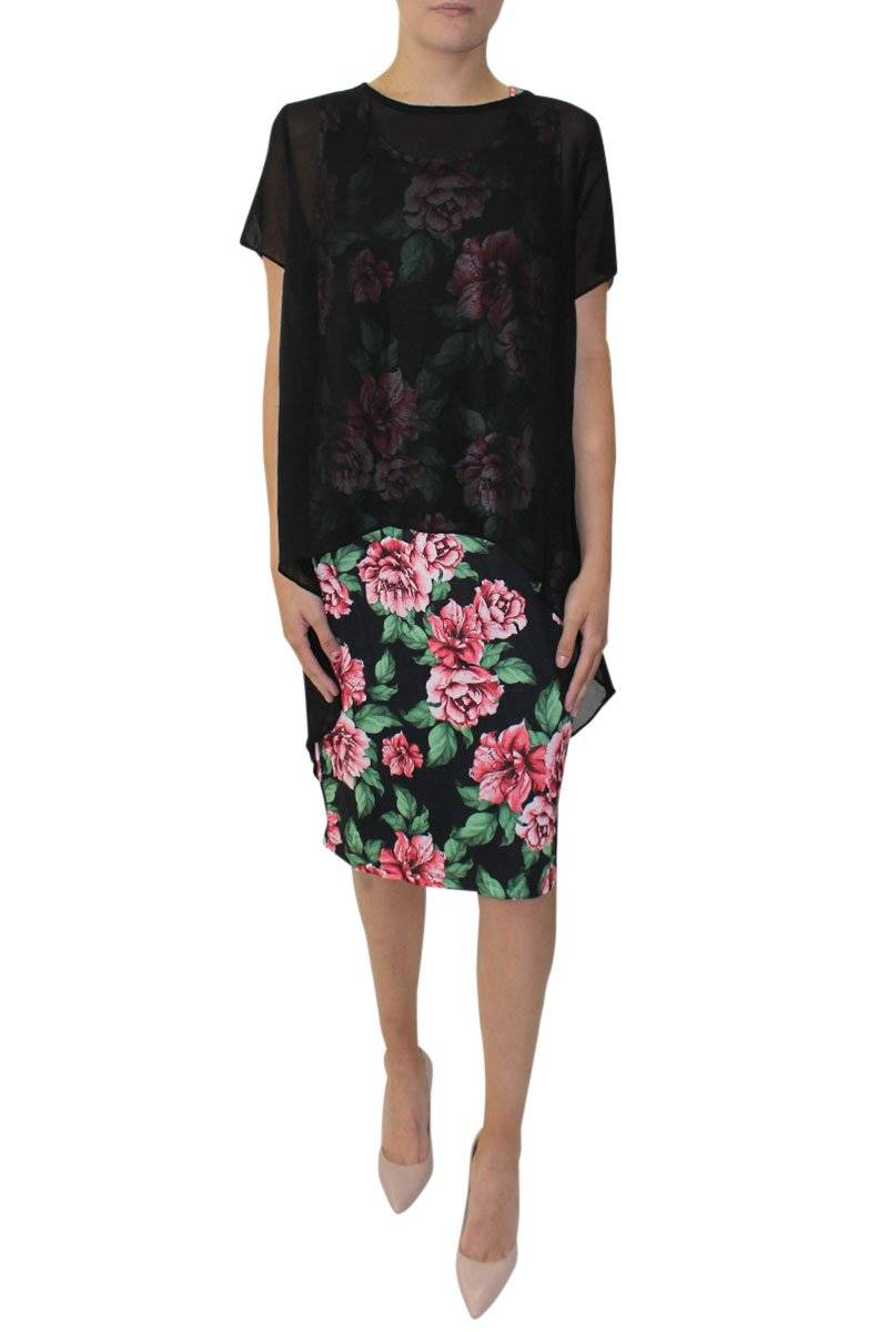 Roses Overlay Dress - Black