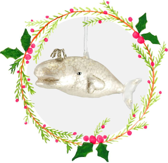 Victorian Whale Ornament in Pearl