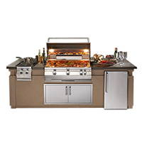 A fully stocked outdoor kitchen station on a white background