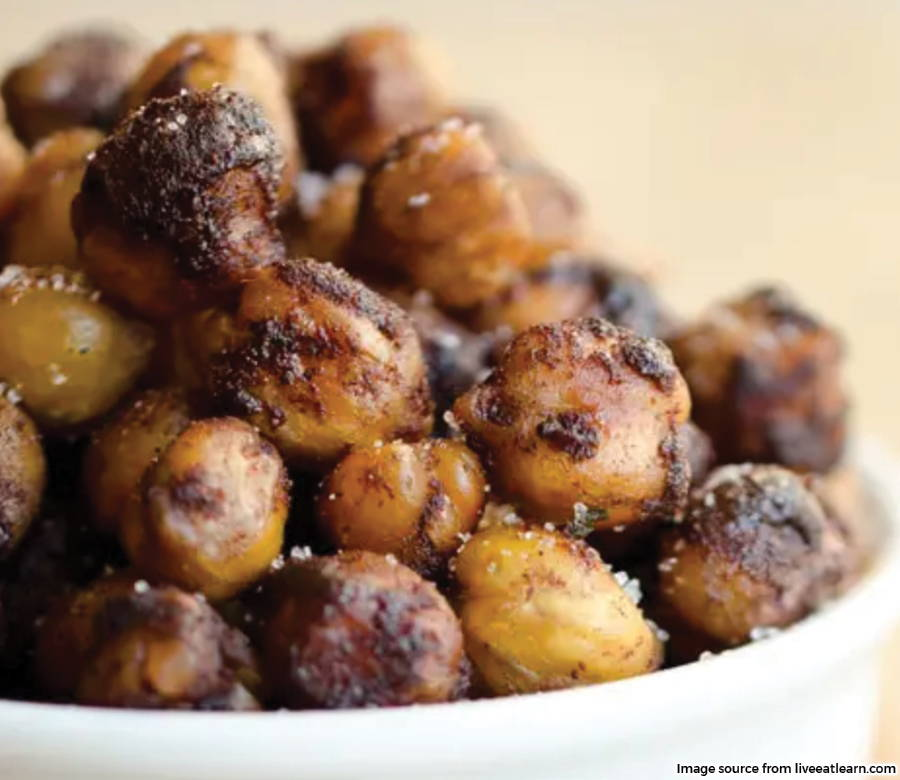 close up of oven roasted chickpeas in bowl