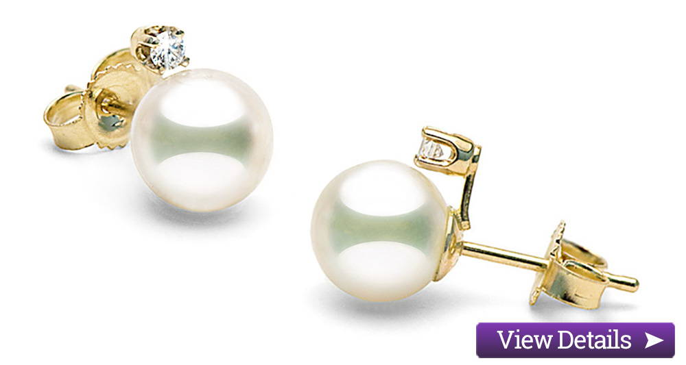 Akoya Pearl Jewelry Styles: Pearl and Diamond Stud Earrings