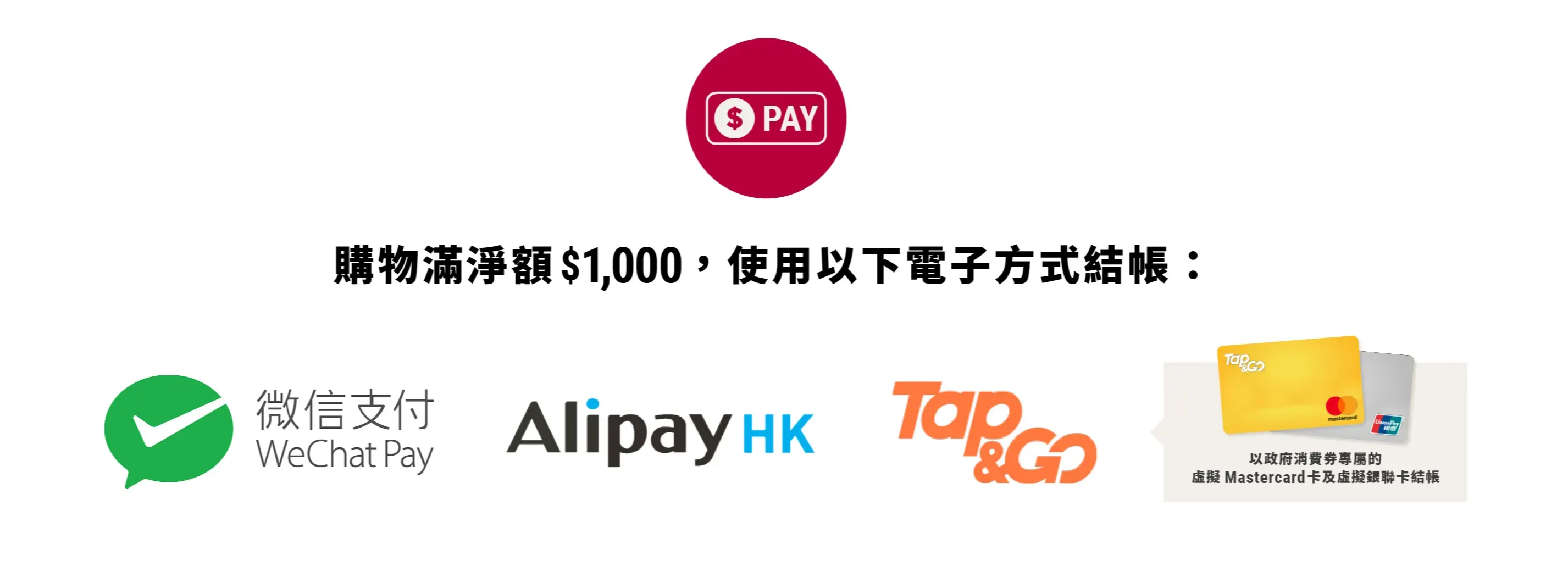 Consumption Voucher, WeChat Pay, AliPay, Tap&Go, Mastercard, Union Pay 消費券優惠