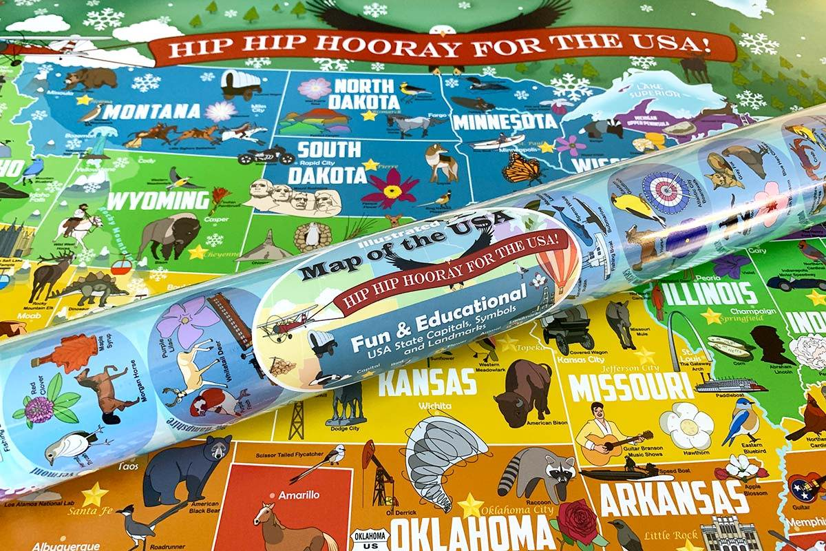 educational us map poster for kids