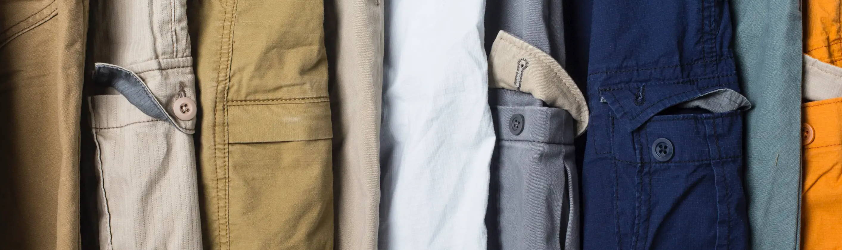 Closeup of Different Colored Short Cargo Pockets
