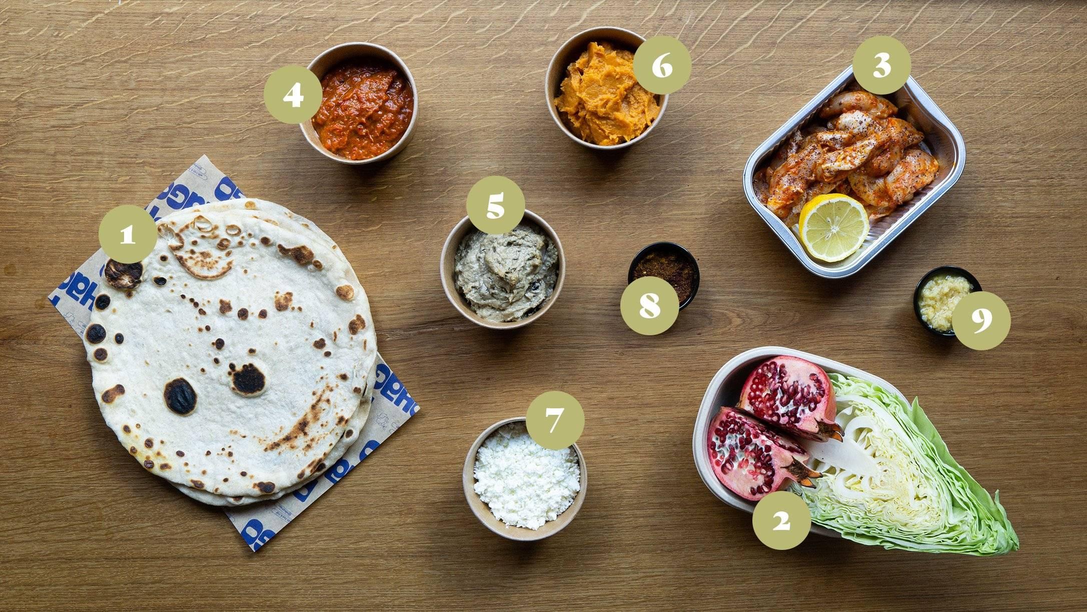 Opskrift og vejledning til Surdejs fladbrød med kylling, romesco, baba ganoush,  mos af sød kartoffel, citronvinaigrette og sprødt grønt