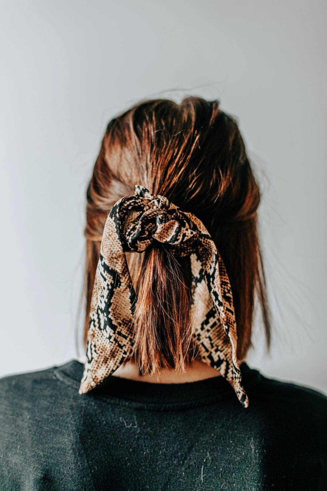 Curved Short Ponytail With Crunchies