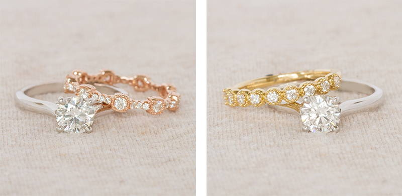 Yellow Gold and Rose Gold Engagement Rings and Wedding Bands