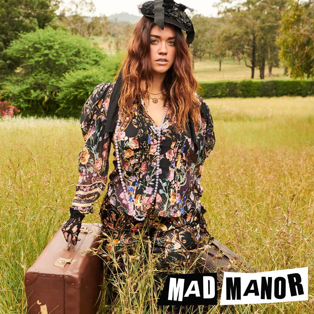 CAMILLA Blushing Manor Blouse | CAMILLA black and floral print