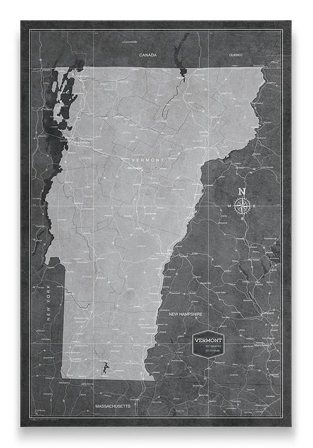 Vermont Push pin travel map modern slate