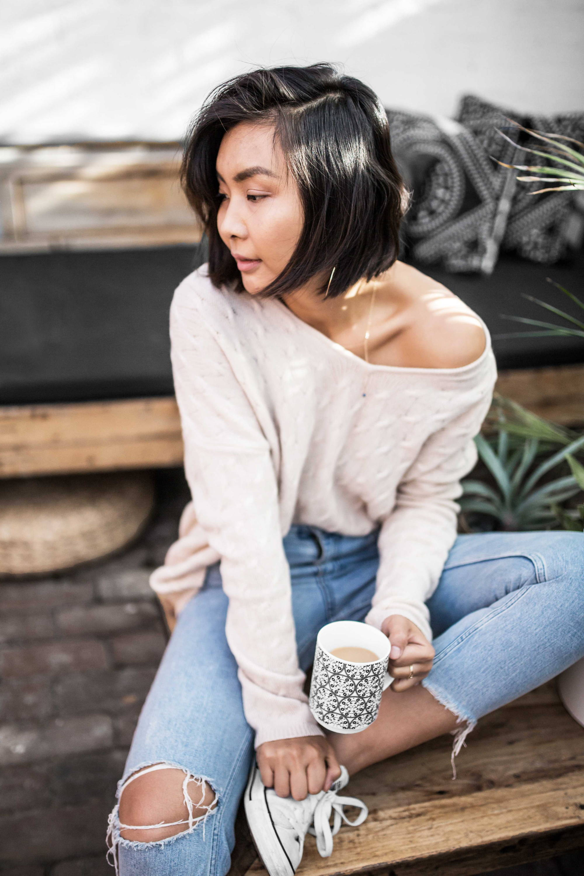 HAND-KNIT CABLE SWEATER
