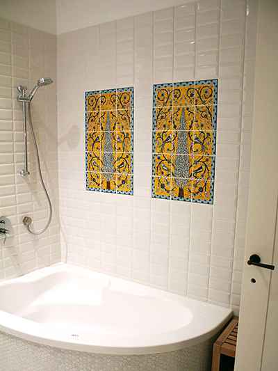 Birds of paradise & Cypress tree tile murals in bathroom wall