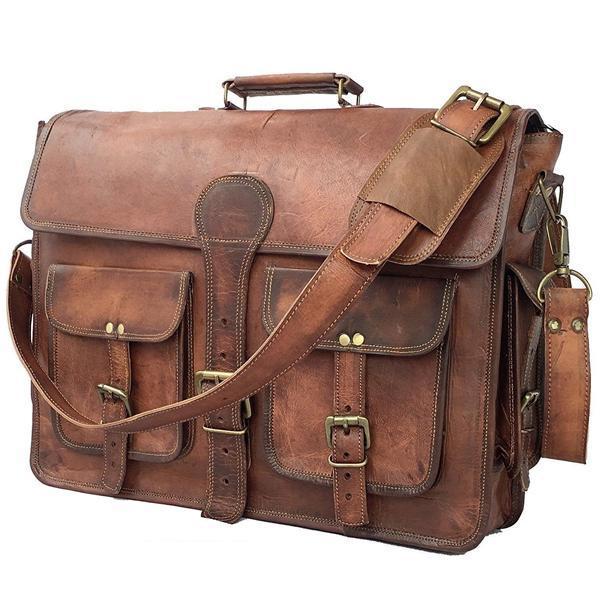 The Jones Leather Messenger Bag for Men for 17 Inch Laptops - Full Grain Leather