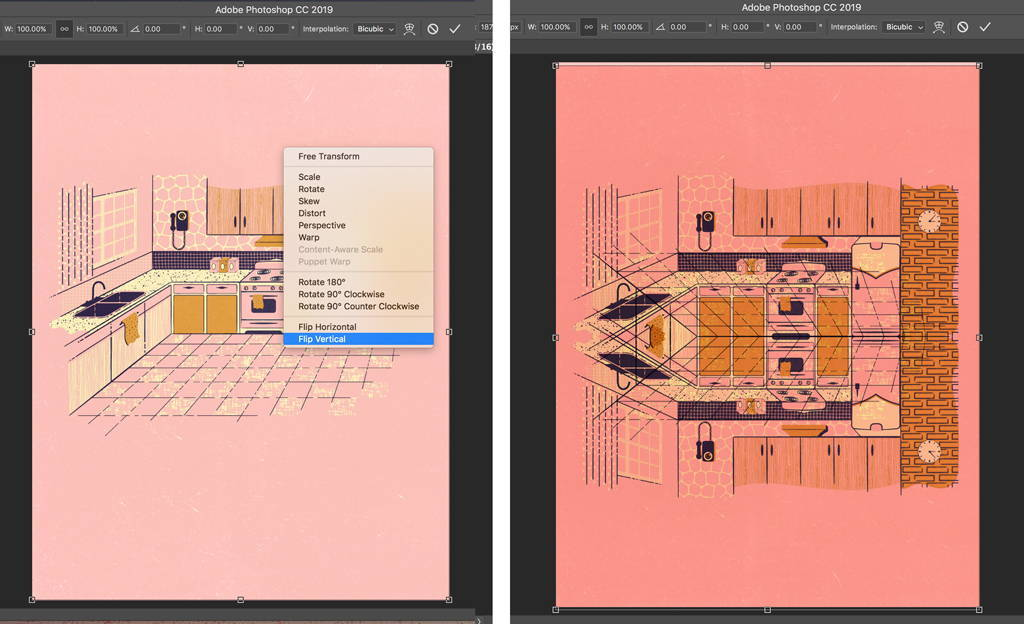 Duplicate image to create reflection in Photoshop.