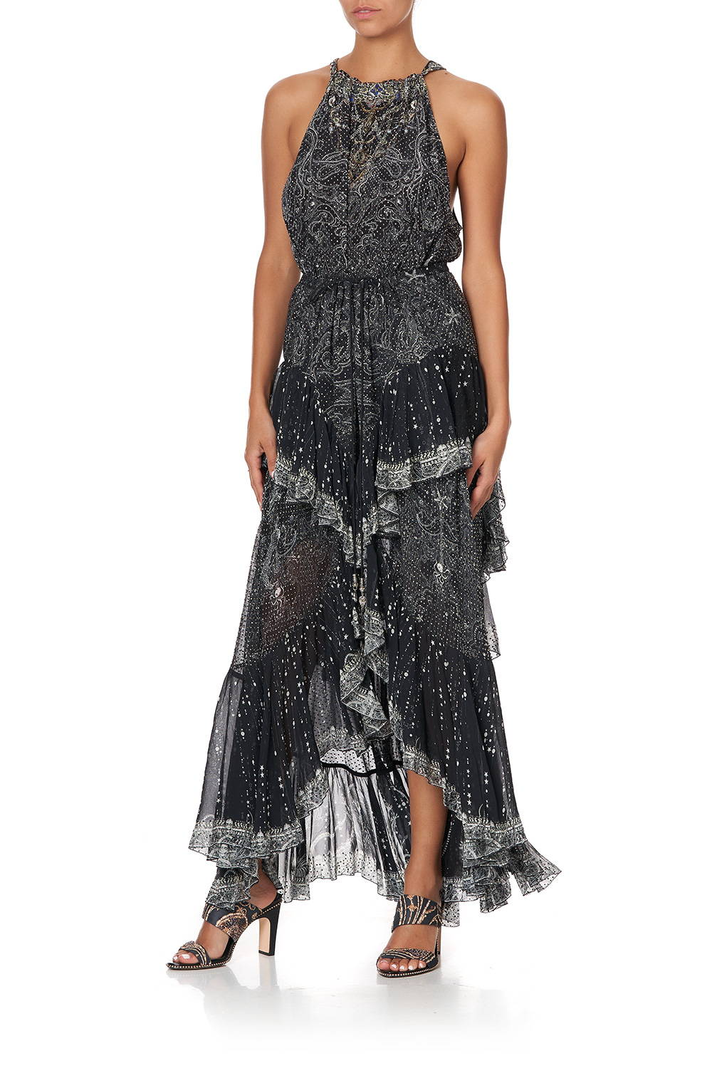 CAMILLA black and silver embellished maxi skirt with frills.
