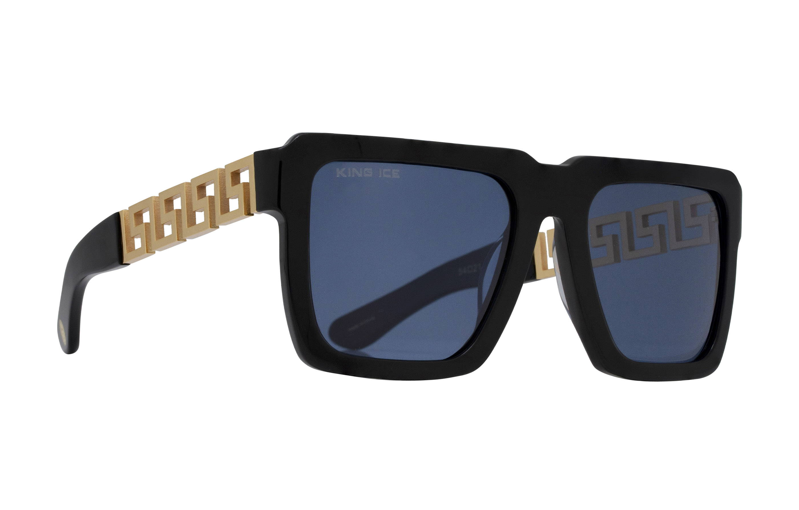 King Ice Greek Key Shades with Glossy Black Frame & Blue Tint Lenses