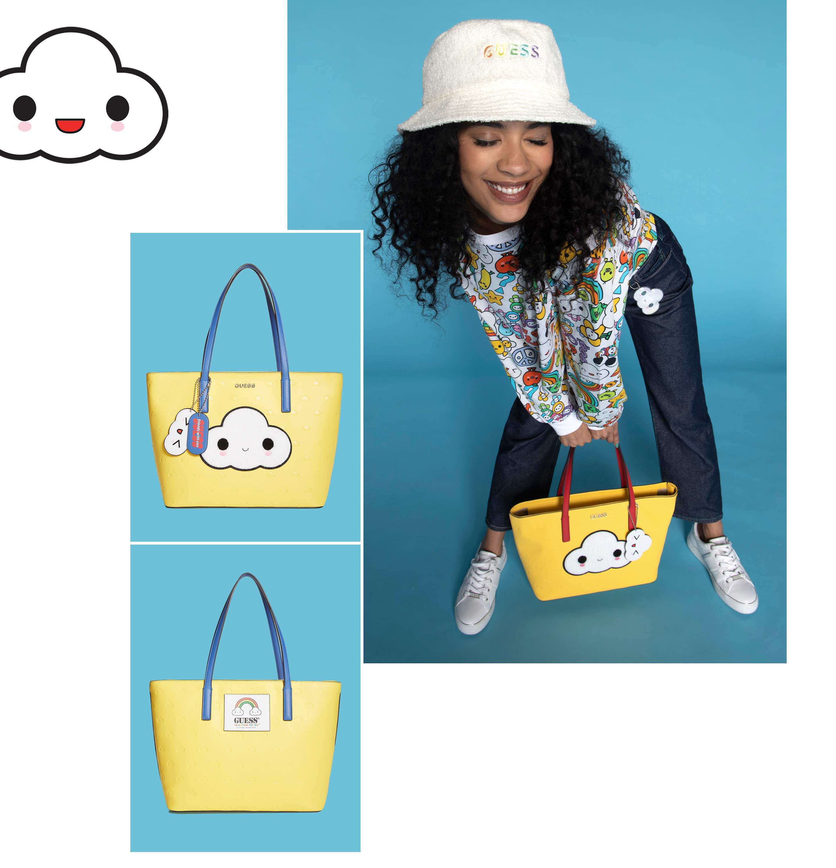 Guess friendswithyou yellow cloud tote bag