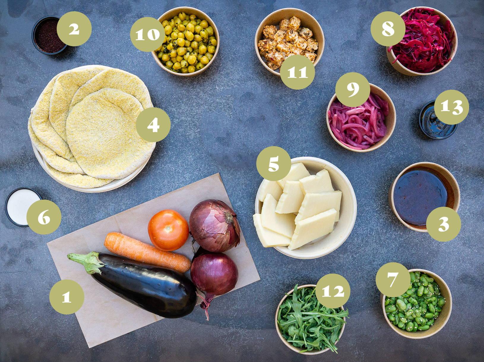Opskrift og vejledning til Friskbagt pitabrød med halloumi, ovnbagt aubergine,  kikærter, salatost, syltede og frisk grønt.