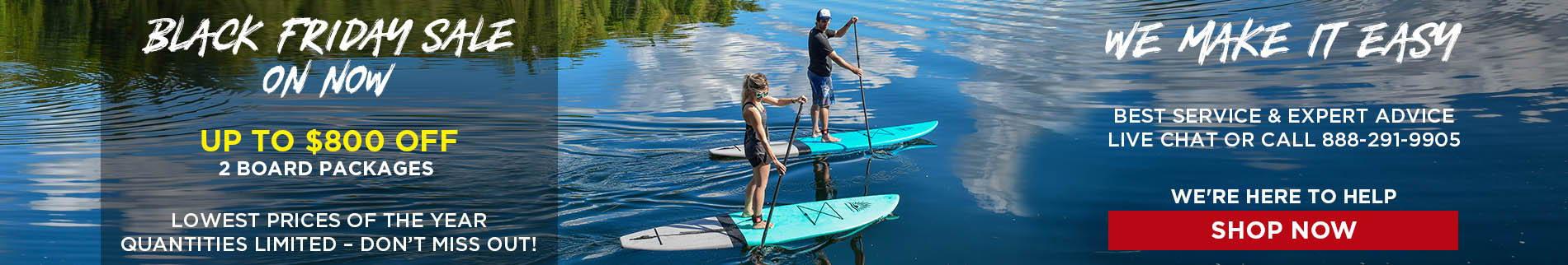 Paddleboard Direct Couple Paddling  Cruiser SUP Escape Super-Lite On Beautiful Lake| Black Friday Paddle Board Sale